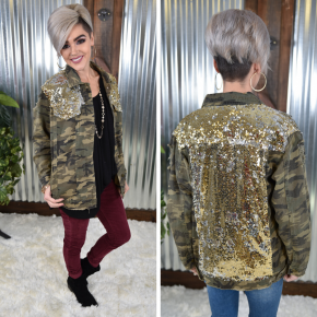 Camo Sequin Denim Jacket