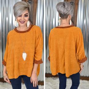 Mustard 3/4 Sleeve Oversized Sweater
