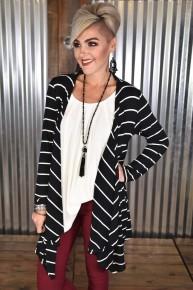 Black L/S Striped Knit Cardigan