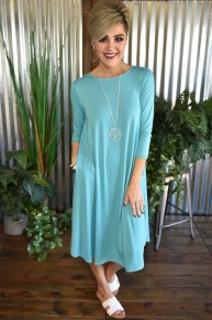 Ash Mint 3/4 Sleeve Basic Dress