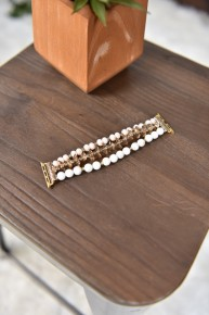 White Pearl & Gold Beaded Watch Band