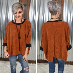 Rust 3/4 Sleeve Oversized Sweater