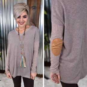 Suede Elbow Patch Sweater