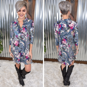Floral & Animal V Neck Dress