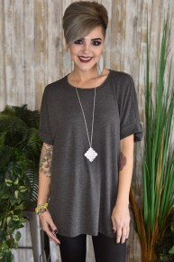 Charcoal Rolled Sleeve Top