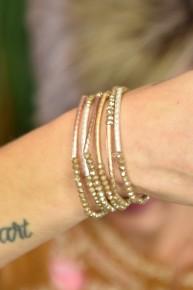 Light Brown Beaded Stretch Six Bracelet Set
