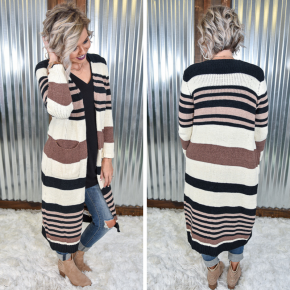 Brown Striped Long Cardigan with Pockets