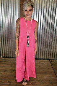 Hot Pink Tank Cropped Jumpsuit