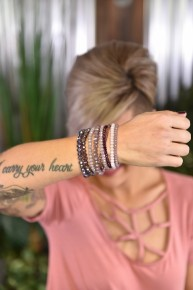 Purple Glass Beaded Bracelet Set