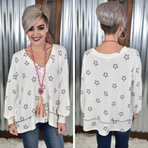 Ivory Stars Pullover Top