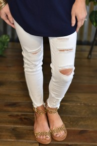 Kan Can White Mid Rise Skinny Jeans