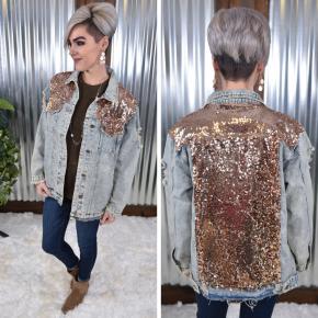 Rose Gold Sequin Denim Jacket