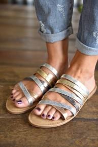Mixed Metal Sandals
