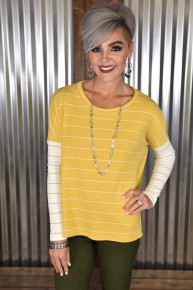 CLEARANCE Mustard Striped L/S Knit Top