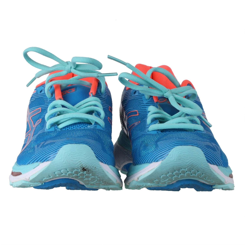 db3514eed2db Asics Women s Gel-Nimbus 19 Running Shoes Diva Blue Flash Coral Aqua Splash  7