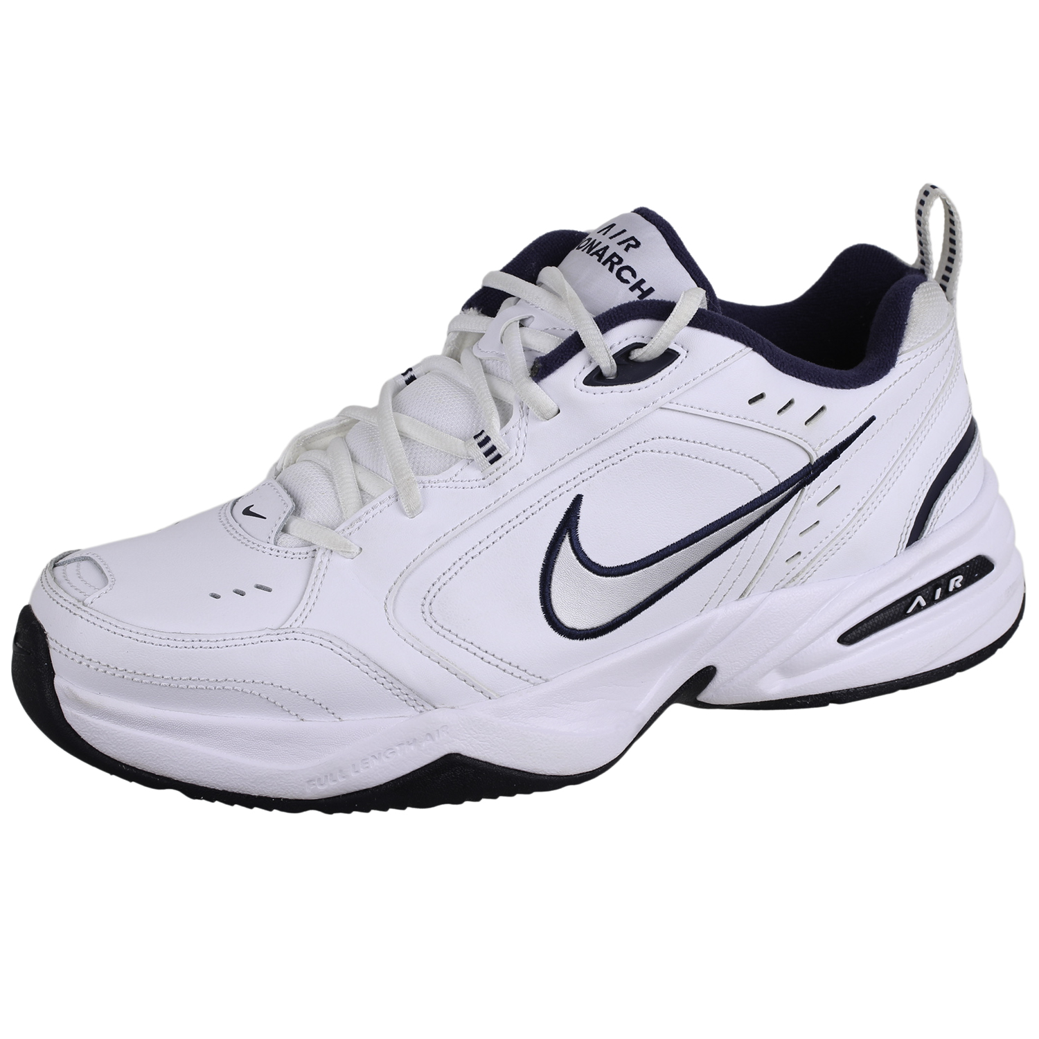 huge selection of 7358f b223b Details about Nike Mens Air Monarch IV Training Shoe White Metallic Silver  11.5