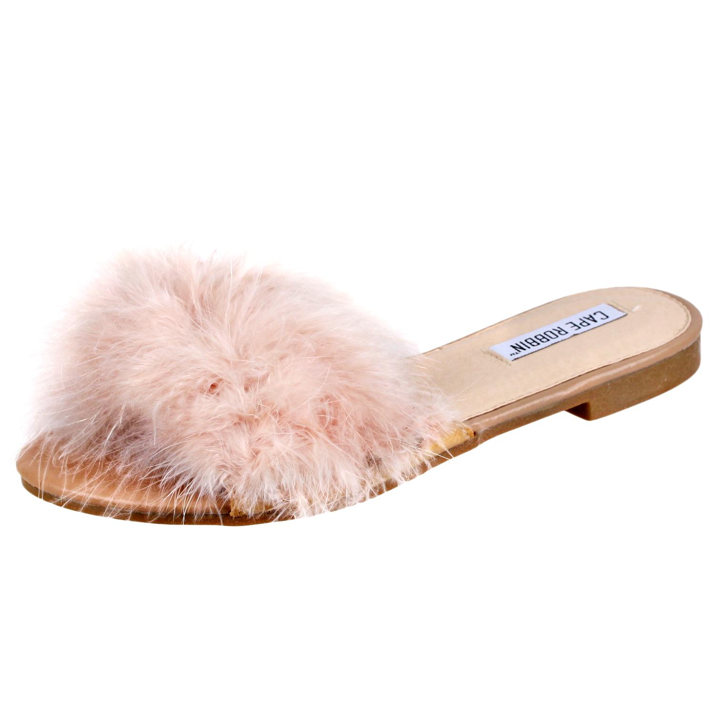 be9760550c29 Cape Robbin Womens Sandal-1 Faux Fur Slide Sandal Shoe Nude 7