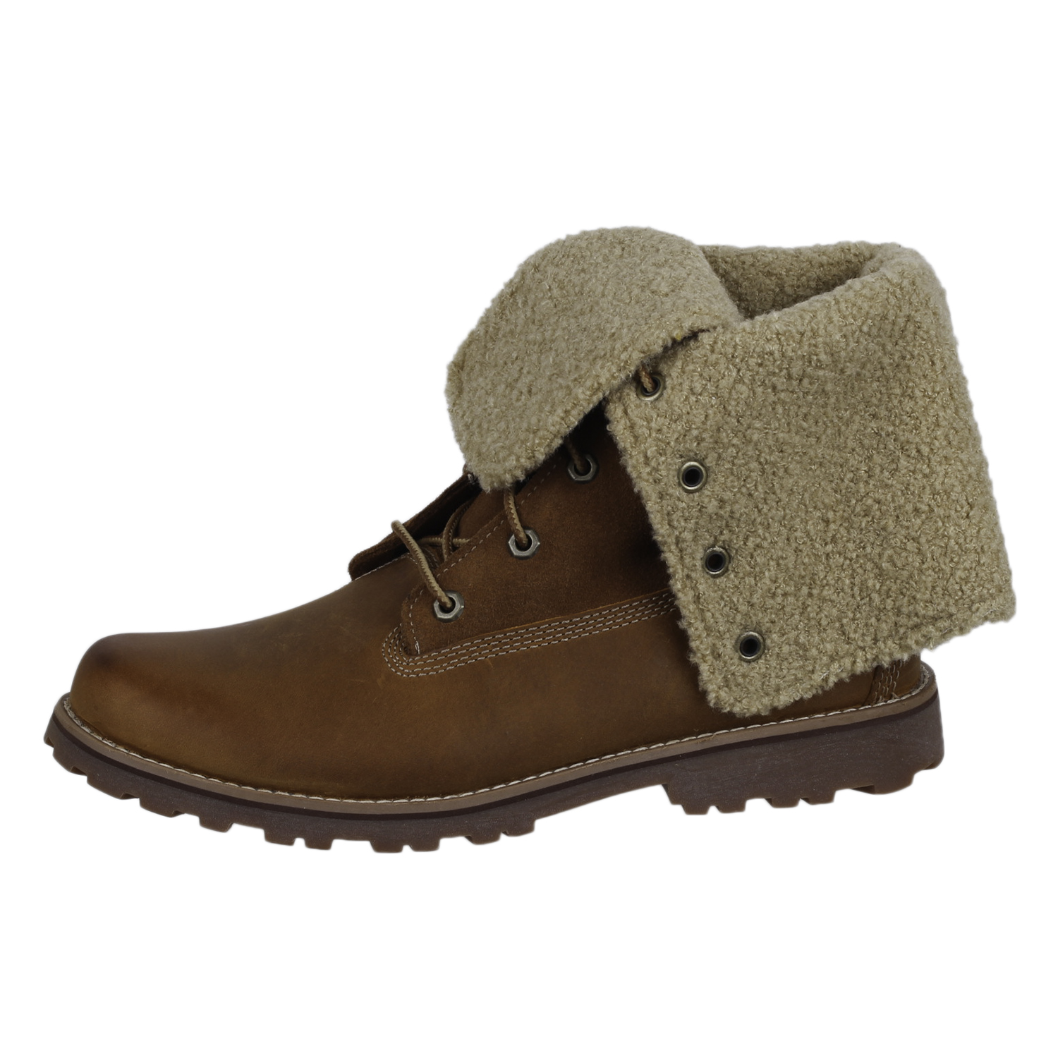 Details about Timberland Boys 6'' Shearling Fold Down Boot Shoes TB050919214 Brown size 6.5