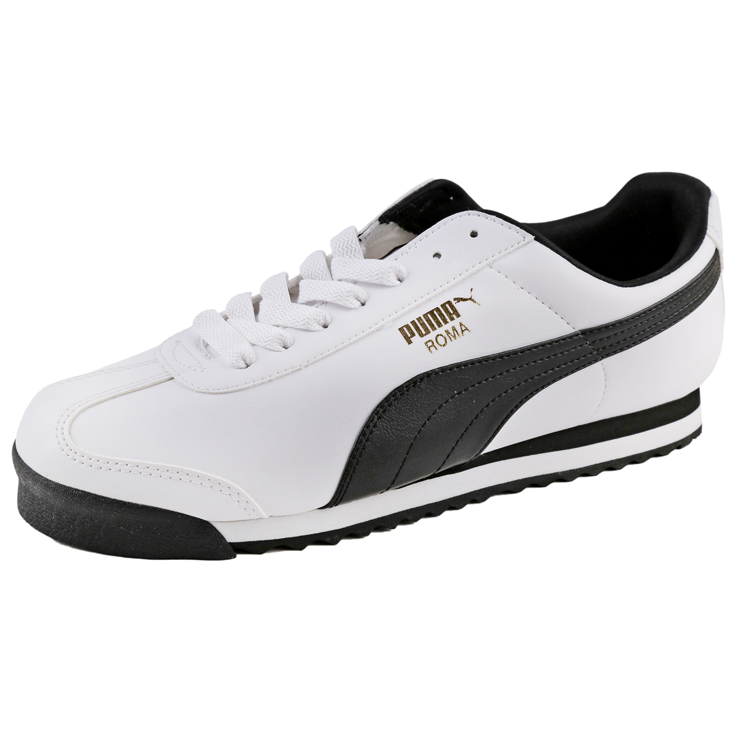 Details about Puma Men s Roma Basic Leather Sneaker Shoes 353572 White Black d073ecf5d