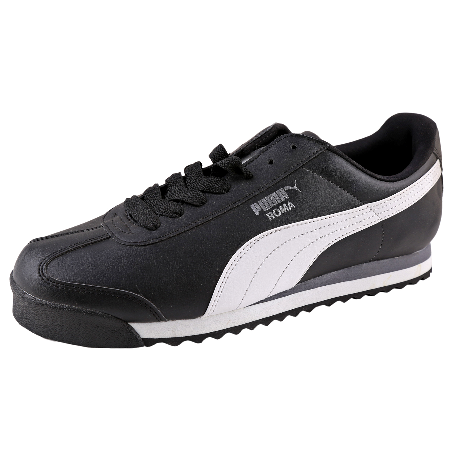 Details about Puma Men s Roma Basic Leather Sneaker Shoes 353572 Black White 0e7f1cbab