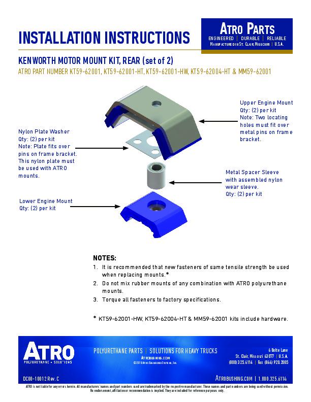 Instruction Sheets Atro Engineered Systems Inc