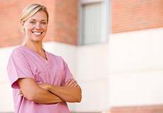 Nurse with Pink Scrubs Crossing Arms