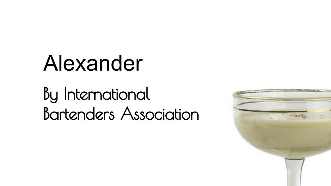 Video for Alexander (IBA) from Commonwealth Cocktails