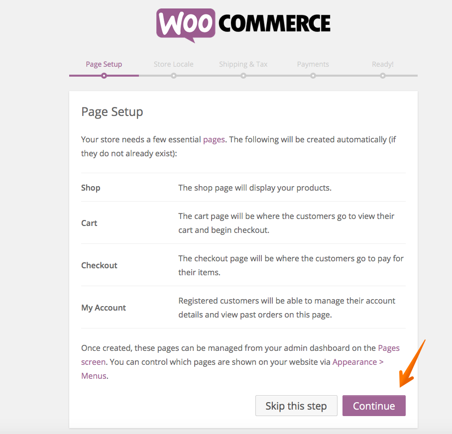WooCommerce setup pages