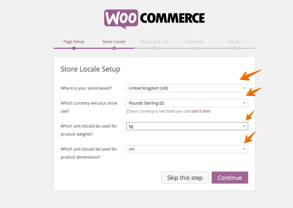 WooCommerce setup locale