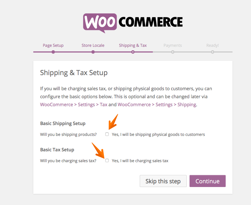 WooCommerce setup shipping