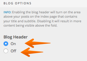 Blog header options