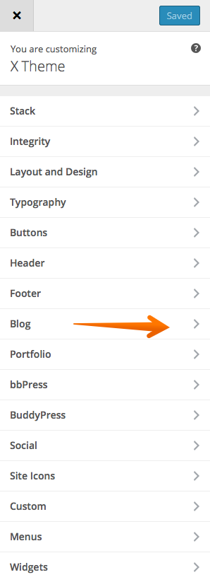 Blog customizer options