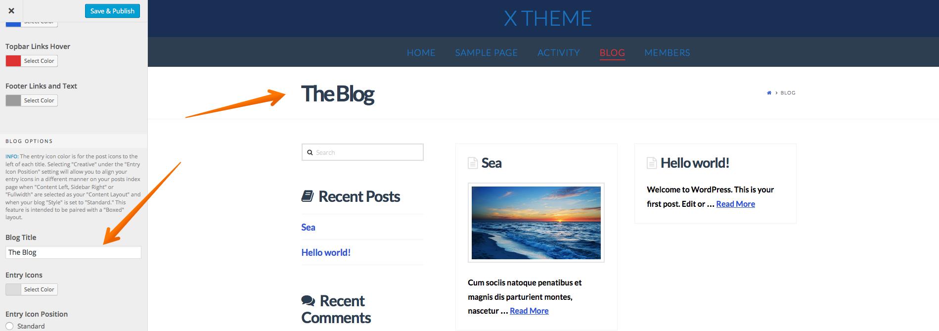 Set Blog title