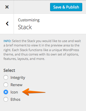 Icon stack selected
