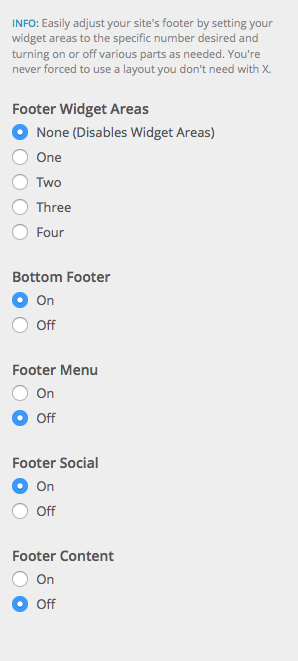 Footer Customization options