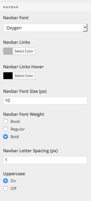 Navbar options