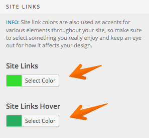 Site links hover