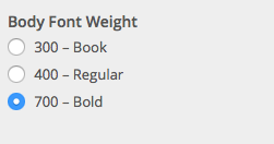 Body and content font weight