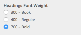 Headings font weight