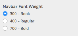 Navbar Font Weight