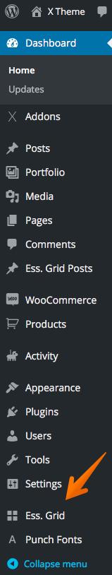 Essential Grid menu item