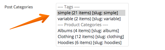 Select categories or tags