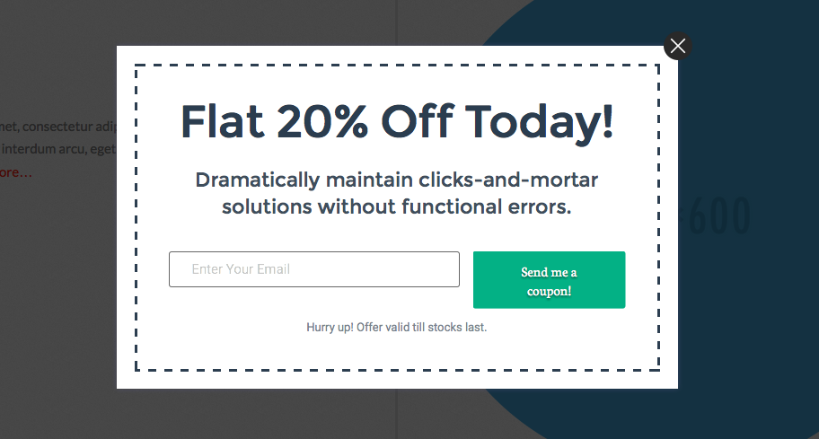 Modal Popup showing