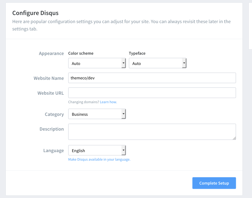 Disqus Color and Typogrpahy configuration