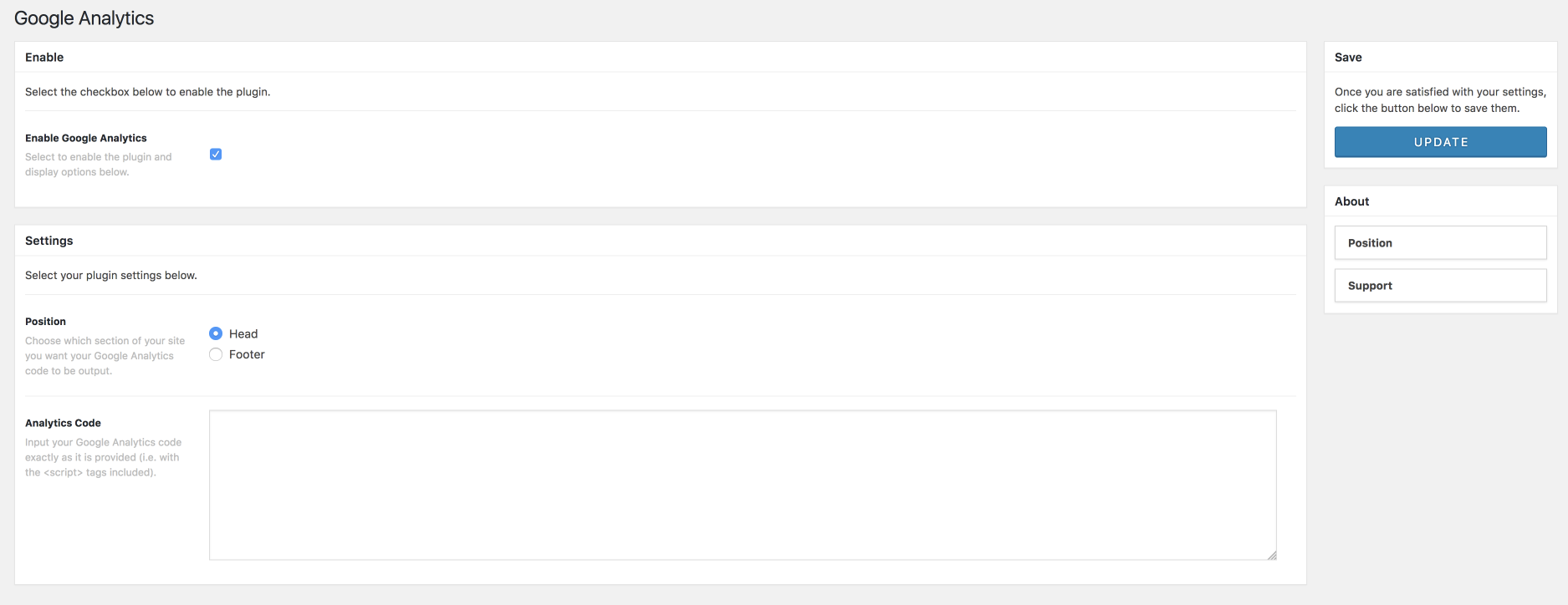 Google Analytics Main Settings