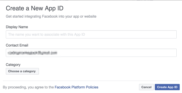 Create Facebook app step 2