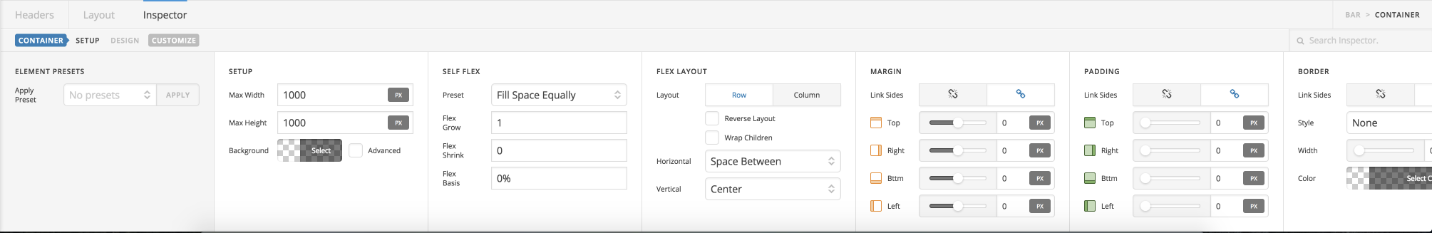Header Builder Container Controls