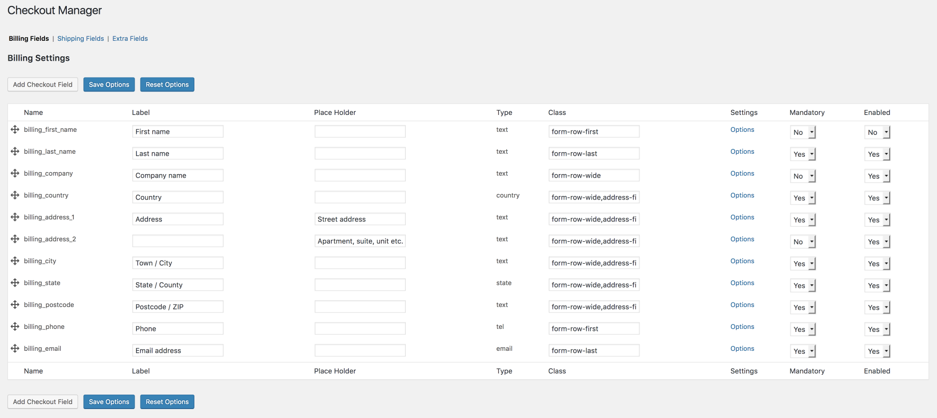 WooCommerce Checkout Manager main screen