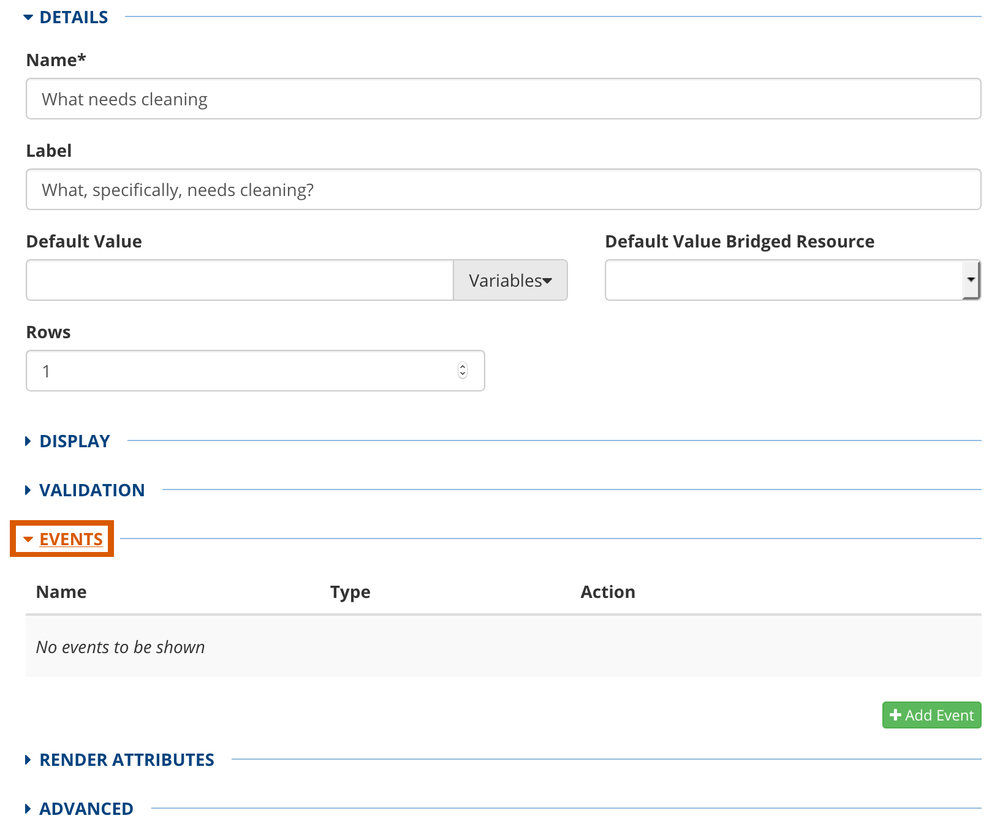 example Events panel