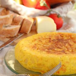 Fritata de calabaza, cebolla y queso azúl